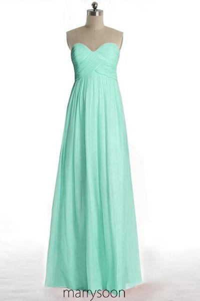 Mint Green Long Chiffon Bridesmaid Dresses, Full Length Pastel Green A-line Sweetheart Neck Bridesmaid Gown MD108