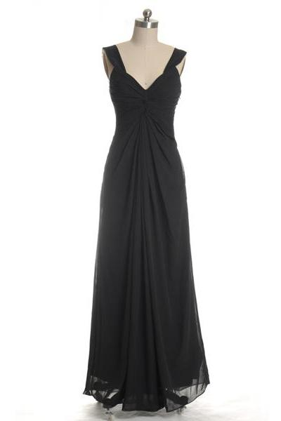 Black Long Chiffon V-neck Bridesmaid Dresses, Full Length Black Ruffled A-line Bridesmaid Gown MD151