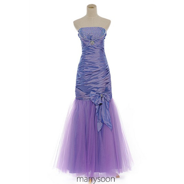 Lavender Purple Mermaid Floor Length Prom Gown, Light Purple Beaded Prom Dresses 2016, Simple Wedding Dress MD011