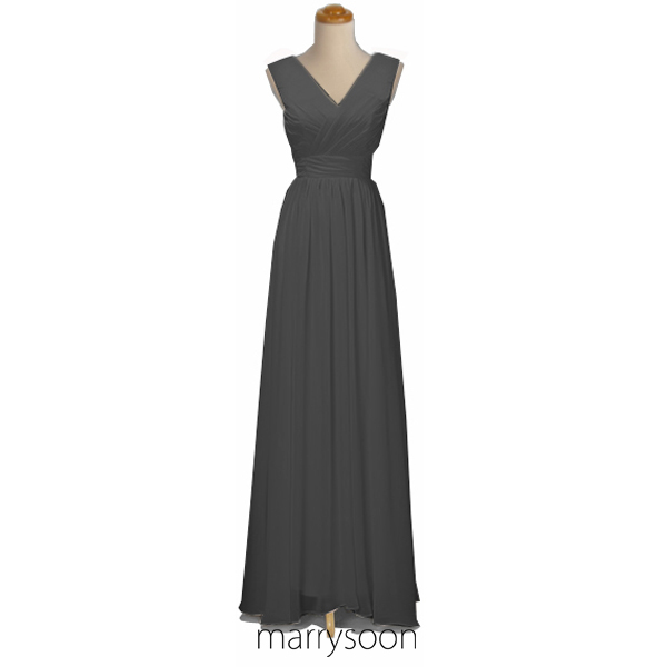 Charcoal Gray v-neck Chiffon Bridesmaid Dress, Dark Gray Long Chiffon Bridesmaid Gown, Cheap Custom Made Bridesmaid Dress MD014