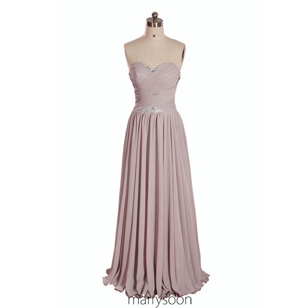 Pinkish Grey Sweetheart Neck Beaded Chiffon Prom Dress 2016, Dusty Rose A-line Long Strapless Bridesmaid Dresses, Affordable Elegant Prom Gown MD010