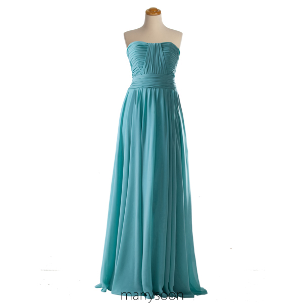Tiffany Blue Pleated Chiffon Bridesmaid Dress, Custom made Strapless Long Bridesmaid Dresses, A-line Bridesmaid Gown Colored Tiffany MD017