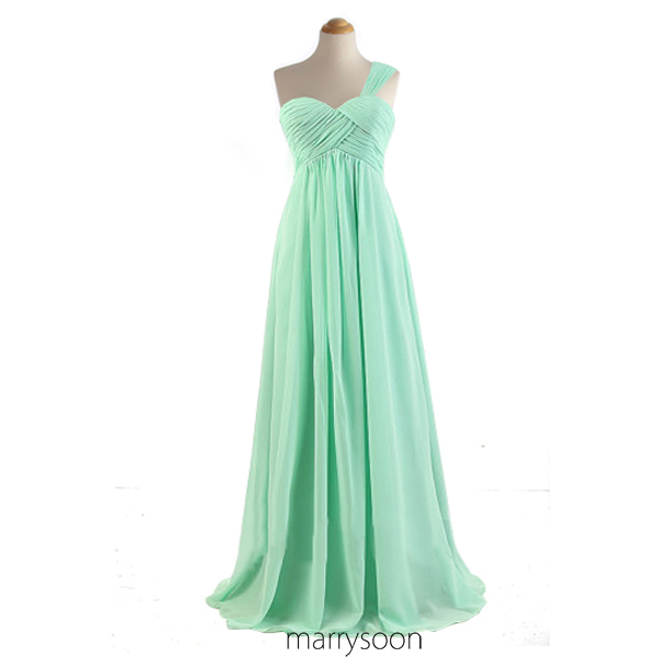 Mint Green Chiffon Long Bridesmaid Dresses, Mint Colored One Shoulder A-line Floor Length Bridesmaid Gown MD025