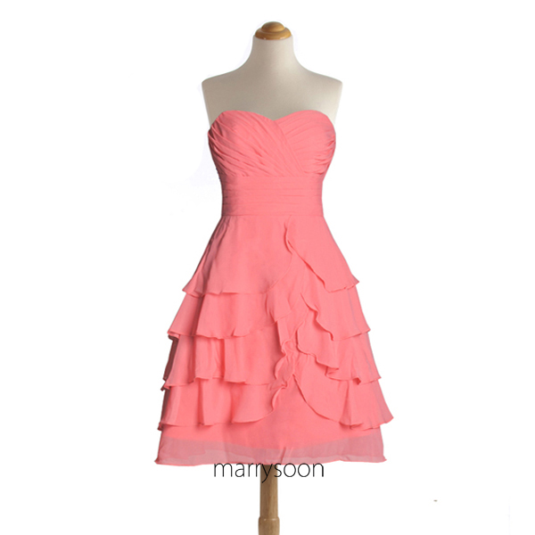 Layered Coral Pink Chiffon Short Bridesmaid Dresses, Coral Colored Sweetheart Knee Length Bridesmaid Gown MD028
