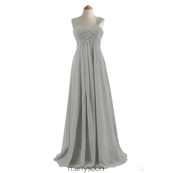 Light Gray Chiffon Long Bridesmaid Dresses, Cap Sleeves A-line Floor Length Bridesmaid Gown, Platinum Empire Waist Bridesmaid Gown MD031