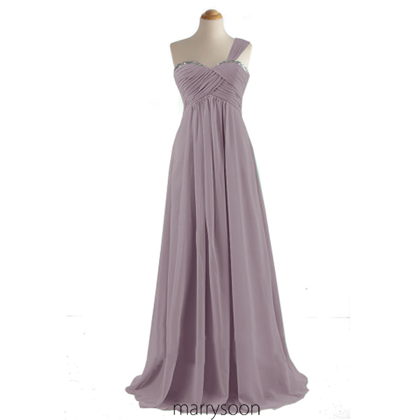 Lavender Purple One Shoulder Bridesmaid Dresses, Dusty Purple Single Shoulder Long Bridesmaid Gown MD036