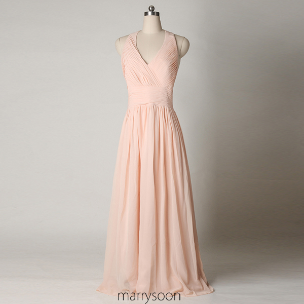 Rose Colored Halter Neck Chiffon Bridesmaid Dresses, Pastel Pink A-line Low V-neck Floor Length Bridesmaid Gown, Peach Pink Full Length Bridesmaid Dress MD054