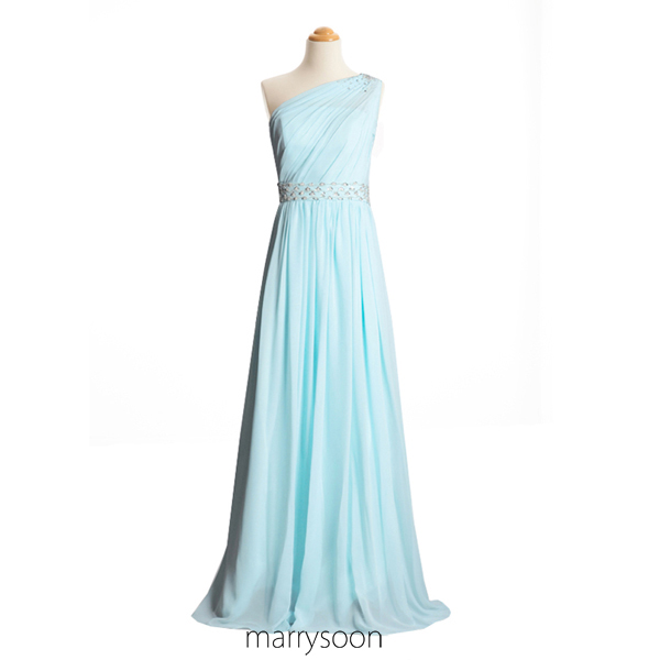 Pastel Blue Illusion One Shoulder Chiffon Bridesmaid Dresses With Beads, Light Sky Blue A-line Floor Length Prom Dress MD085