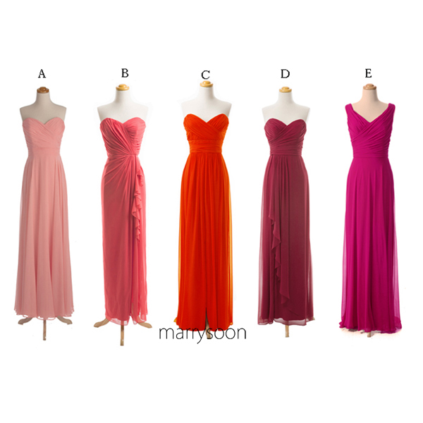 Rose Quarte, Peach Echo, Fiesta Sweetheart Neck and V-neck Bridesmaid Dresses, Mix And Matched Long Bridesmaid Dresses MD150