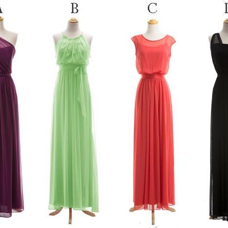 Violet, Pastel Green, Black Mix And Matched Long Bridesmaid Dresses, Boho Style Long Bridesmaid Dresses MD127