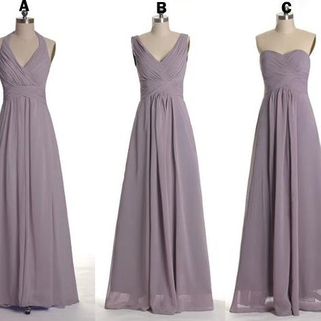 Dusty Purple Mix And Matched Long Bridesmaid Dresses, V-neck, Strapless, Halter Neck Lavender Long Bridesmaid Dresses MD133
