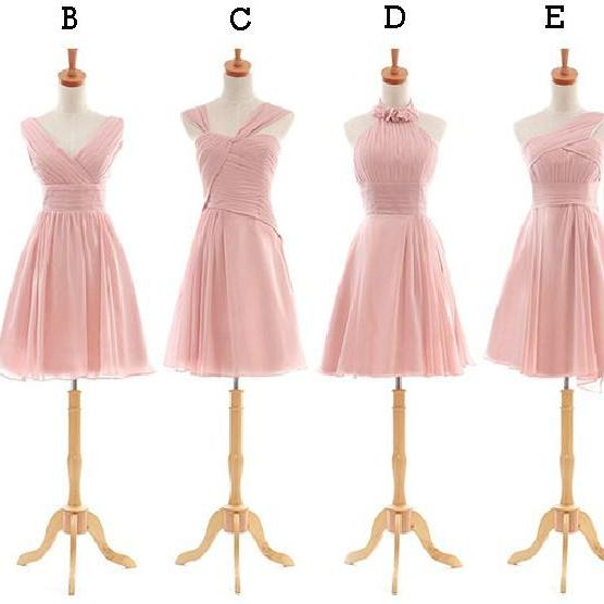 Pink Gray Mix And Matched Short Bridesmaid Dresses, V-neck, Strapless, One Shoulder,Halter Neck Pink Knee Length Bridesmaid Dresses MD138