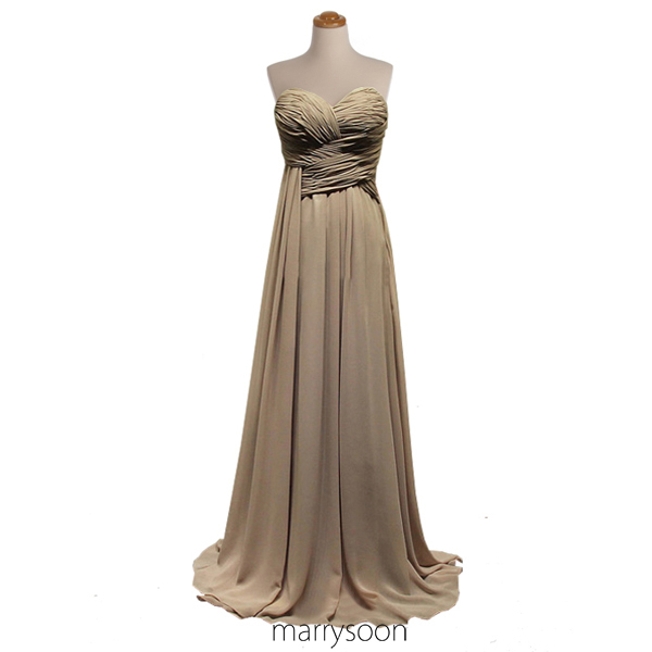 Earth Colored Pleated Chiffon Bridesmaid Dress, Neutral ...