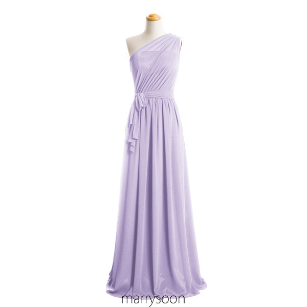 Pastel Lilac Illusion One Shoulder Chiffon Bridesmaid ...